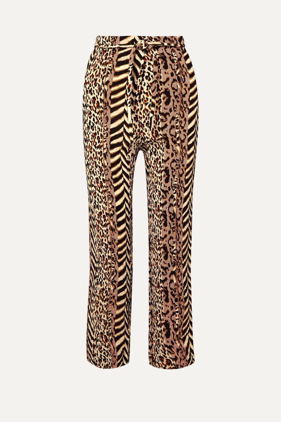 Nanushka Luma paneled printed crinkled-voile straight-leg pants