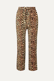 Nanushka Luma paneled printed crinkled-voile straight-leg pants
