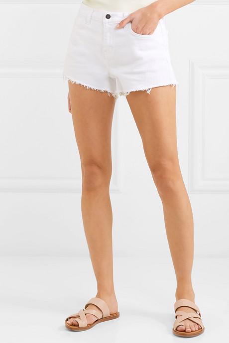 Ryland frayed stretch-denim shorts