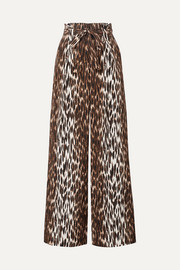 L'Agence Bobby belted leopard-print silk-crepe wide-leg pants