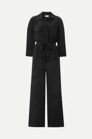 L'Agence Teddy belted washed-silk jumpsuit