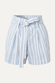 L'Agence Alex belted striped linen and cotton-blend shorts