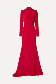 Cutout silk-crepe gown