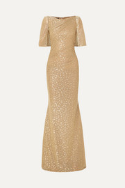 Talbot Runhof Cape-effect draped metallic fil coupé voile gown