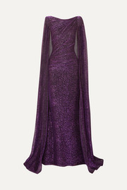 Cape-effect draped metallic voile gown