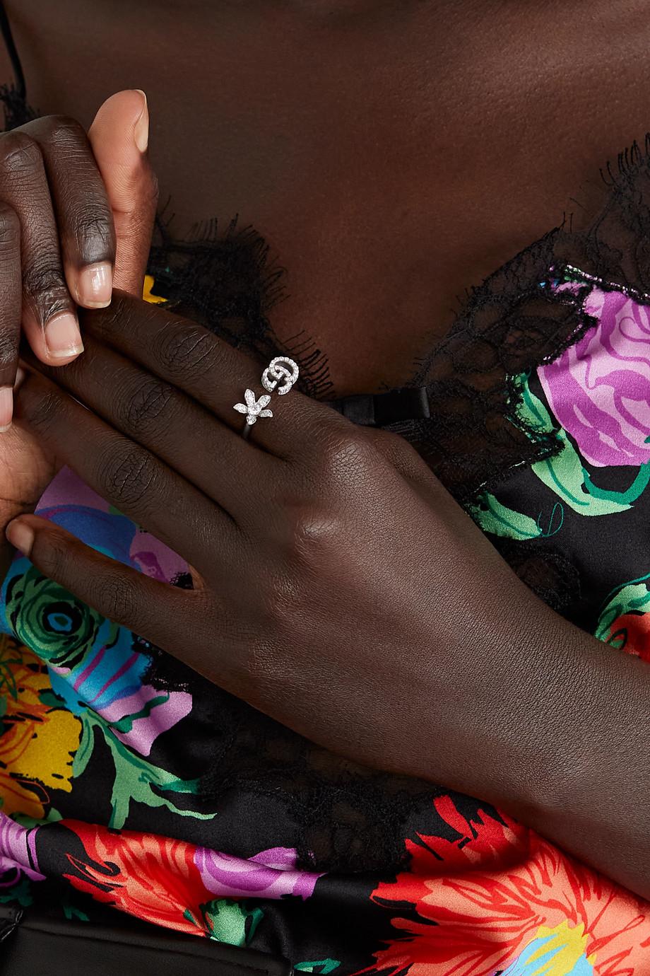 Gucci 18K 白金钻石戒指