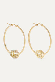 GG Running 18-karat gold diamond hoop earrings
