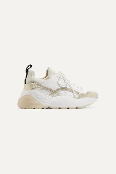 Stella Mccartney Net Sustain Eclypse Logo-Woven Faux Leather And Neoprene Sneakers In White