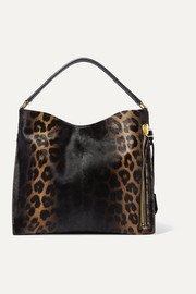 Alix small leather-trimmed leopard-print calf hair tote