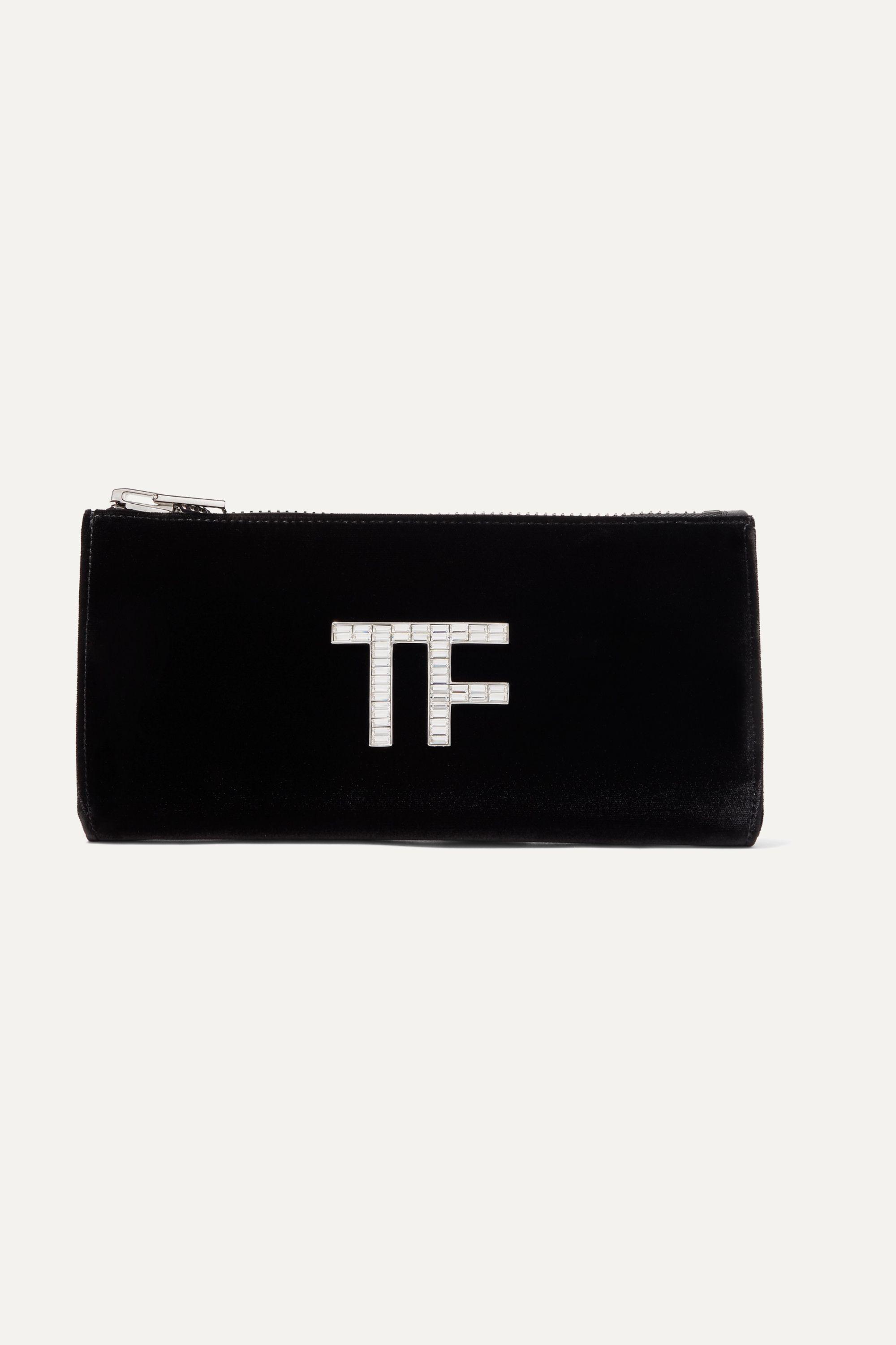 TOM FORD Crystal-embellished velvet clutch