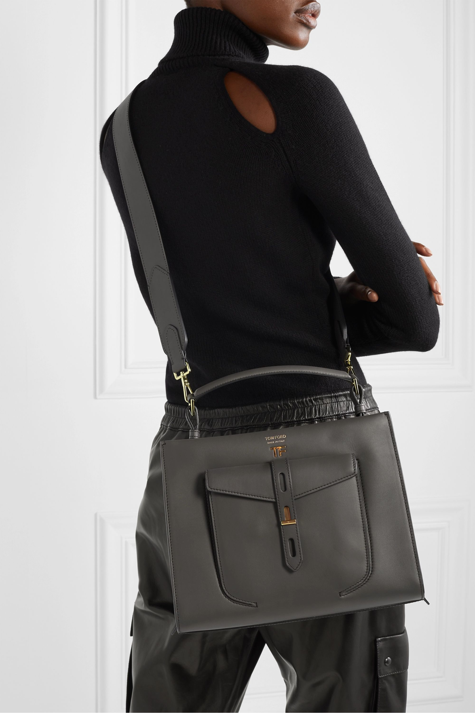 TOM FORD T Twist small leather shoulder bag