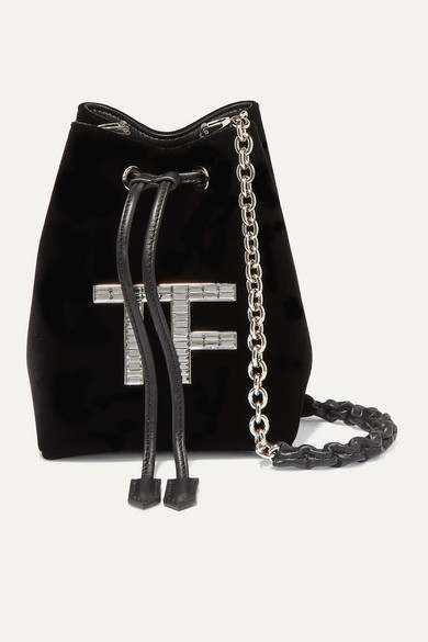 Mini Crystal Embellished Velvet Bucket Bag by Tom Ford