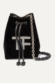 TOM FORD Mini crystal-embellished velvet bucket bag