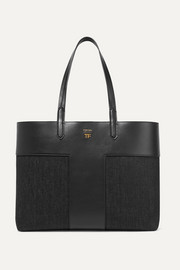 T leather and denim tote