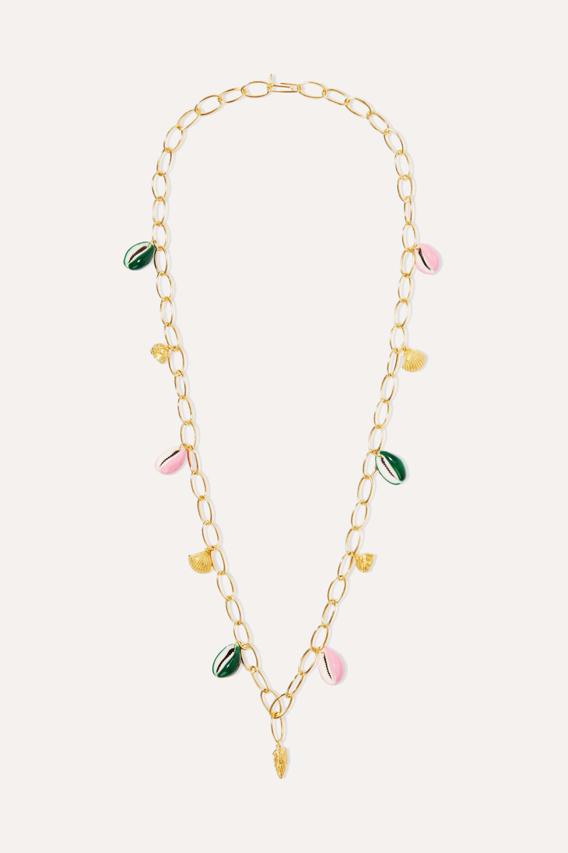 Aurélie Bidermann Panama gold-plated, shell and enamel necklace