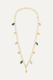 Panama gold-plated, shell and enamel necklace