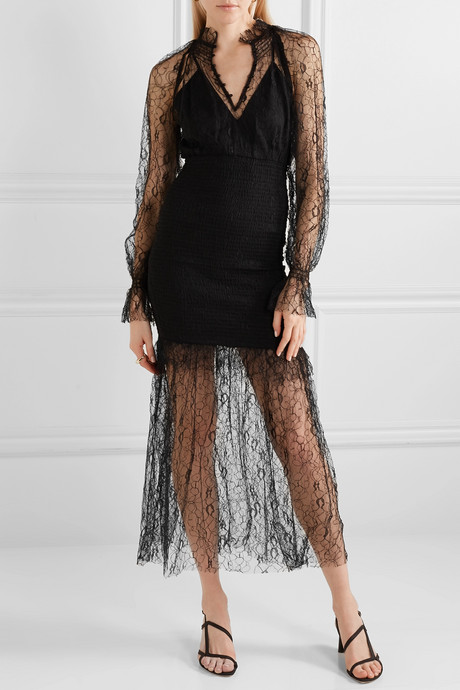 After Dark shirred corded lace midi dress
