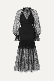 alice McCALL After Dark shirred corded lace midi dress