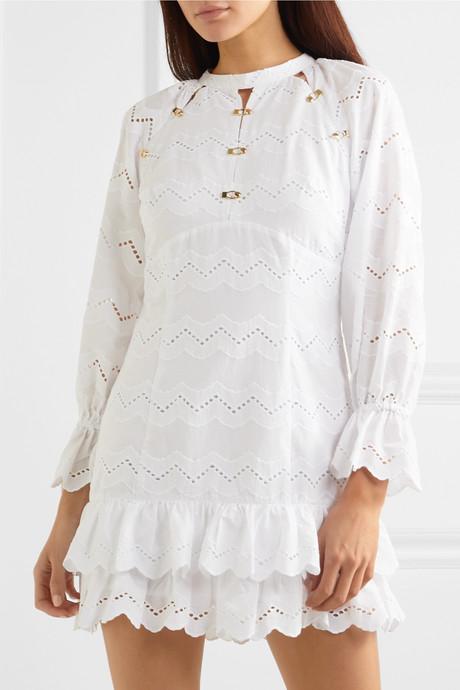 Ziggy ruffled broderie anglaise cotton mini dress