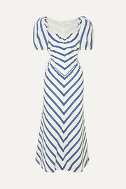 At Last cutout striped cotton-poplin midi dress