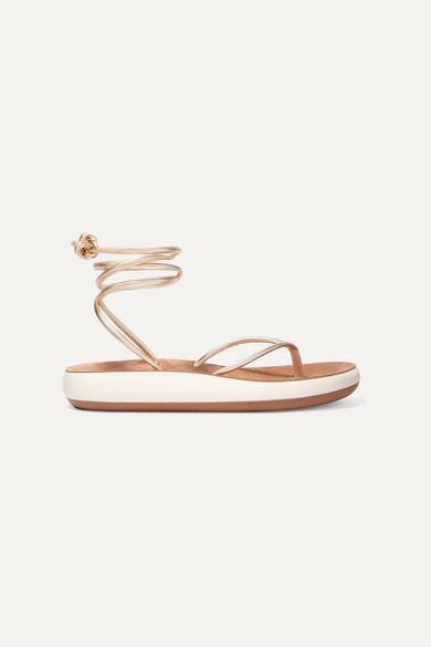 ANCIENT GREEK SANDALS   Ancient Greek Sandals - Piera Metallic Leather Sandals - Gold   Goxip