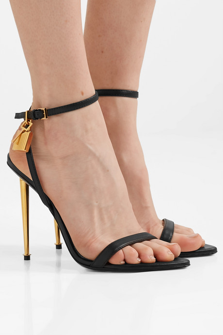 Padlock leather sandals