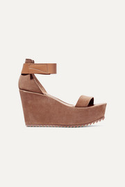 Pedro Garcia Fania suede and textured-leather wedge sandals