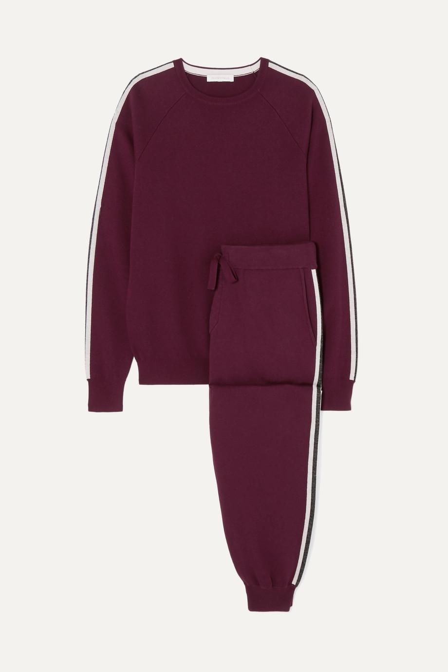Olivia von Halle Missy Bordeaux striped silk and cashmere-blend sweatshirt and track pants set