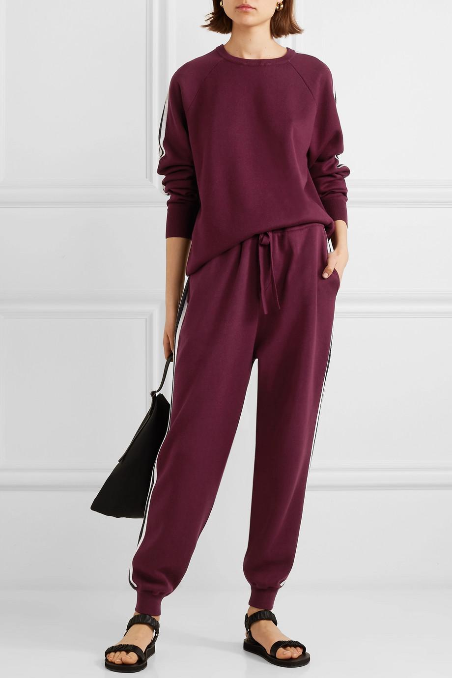 Olivia von Halle Missy Bordeaux 条纹真丝羊绒混纺卫衣休闲裤套装