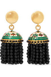 Oscar de la Renta Gold-tone, bead and enamel clip earrings