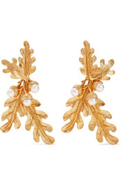 Oscar de la Renta Gold-tone faux pearl clip earrings