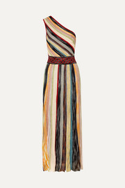 Missoni One-shoulder striped metallic crochet-knit maxi dress