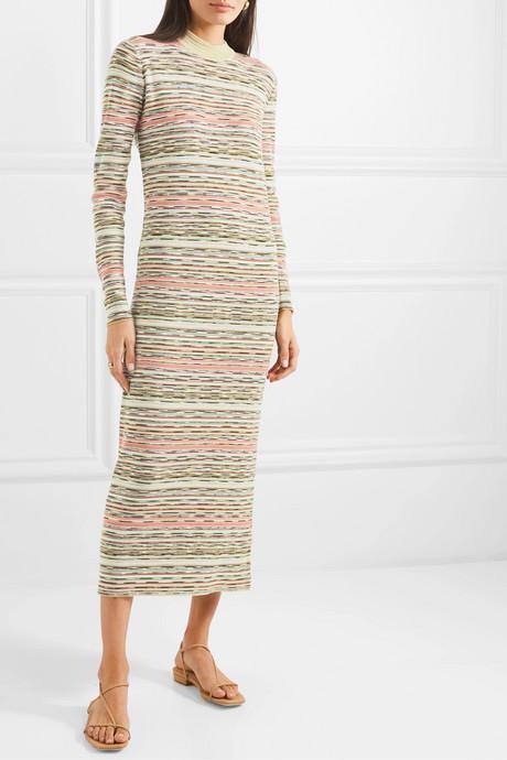 Striped ribbed wool midi dress