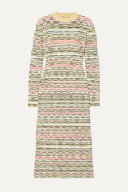 Missoni Striped ribbed wool midi dress