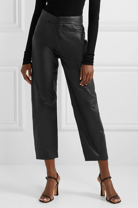 Novara leather straight-leg pants