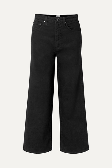 Flair cropped high-rise wide-leg jeans