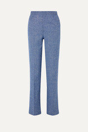 Troia mélange stretch cotton and linen-blend straight-leg pants