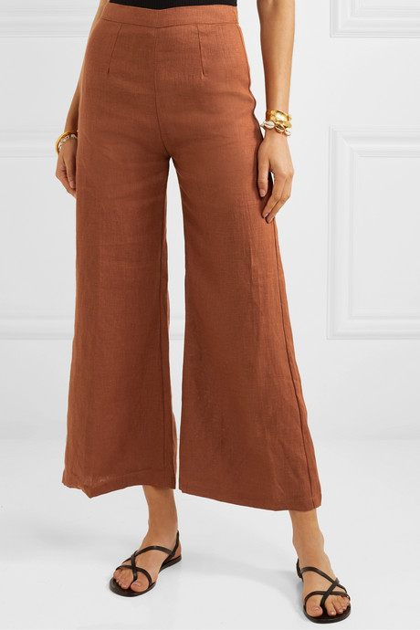 Scelsi cropped linen wide-leg pants