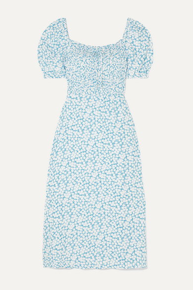 Majorelle Shirred Floral Print Crepe De Chine Midi Dress by Faithfull The Brand