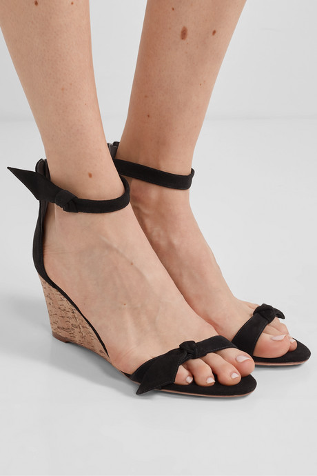 Clarita bow-embellished suede wedge sandals