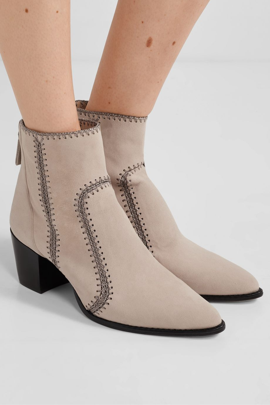 Alexandre Birman Benta whipstitched suede ankle boots