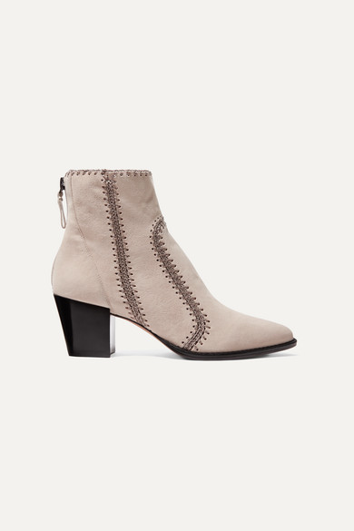 Benta Whipstitched Suede Ankle Boots by Alexandre Birman