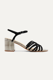 Alexandre Birman Berthe suede and watersnake sandals