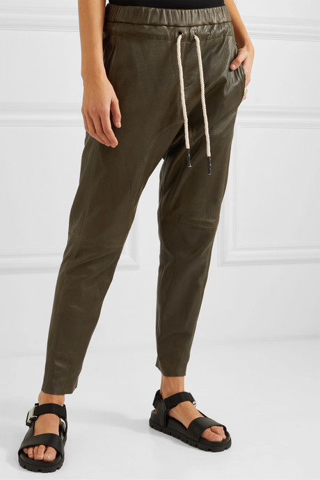 + NET SUSTAIN leather track pants