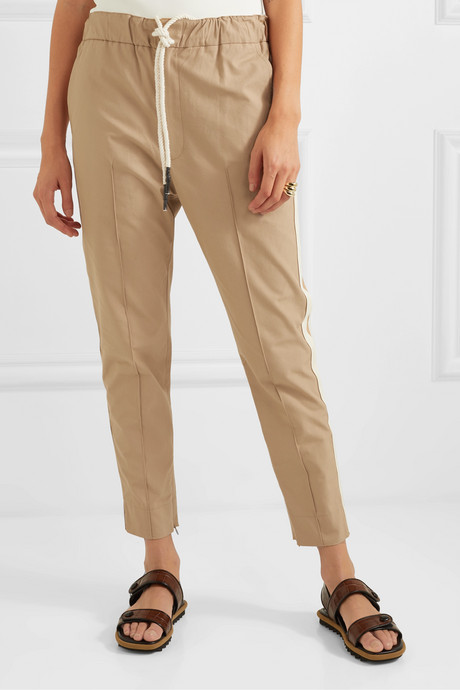 + NET SUSTAIN cropped herringbone-trimmed cotton pants