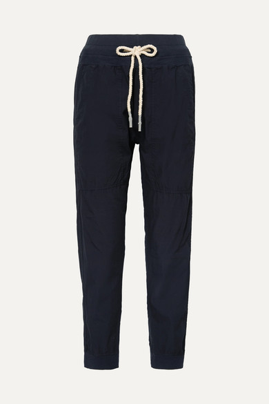BASSIKE | Bassike - Jersey-Trimmed Cotton-Poplin Track Pants - Navy | Goxip