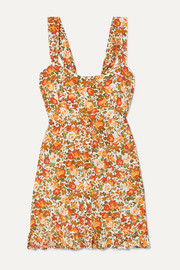 Lou Lou ruffled floral-print crepe mini dress