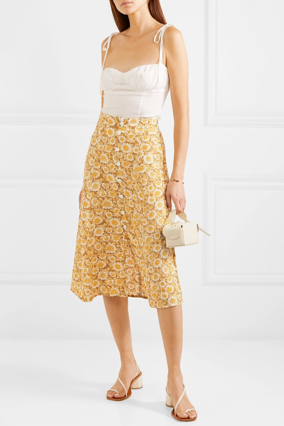 Faithfull The Brand Marin floral-print crepe midi skirt