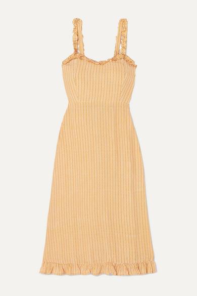 Noemie Ruffled Checked Crepe Midi Dress by Faithfull The Brand
