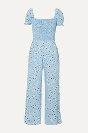 Faithfull The Brand Della shirred floral-print crepe jumpsuit
